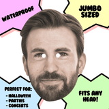Happy Chris Evans Mask - Perfect for Halloween, Costume Party Mask, Masquerades, Parties, Festivals, Concerts - Jumbo Size Waterproof Laminated Mask