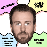 Neutral Chris Evans Mask - Perfect for Halloween, Costume Party Mask, Masquerades, Parties, Festivals, Concerts - Jumbo Size Waterproof Laminated Mask
