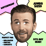 Silly Chris Evans Mask - Perfect for Halloween, Costume Party Mask, Masquerades, Parties, Festivals, Concerts - Jumbo Size Waterproof Laminated Mask