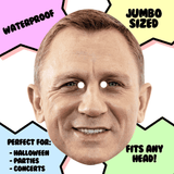 Excited Daniel Craig Mask - Perfect for Halloween, Costume Party Mask, Masquerades, Parties, Festivals, Concerts - Jumbo Size Waterproof Laminated Mask