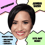 Excited Demi Lovato Mask - Perfect for Halloween, Costume Party Mask, Masquerades, Parties, Festivals, Concerts - Jumbo Size Waterproof Laminated Mask