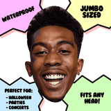 Excited Desiigner Rapper Mask - Perfect for Halloween, Costume Party Mask, Masquerades, Parties, Festivals, Concerts - Jumbo Size Waterproof Laminated Mask