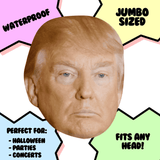 Sad Donald Trump Mask - Perfect for Halloween, Costume Party Mask, Masquerades, Parties, Festivals, Concerts - Jumbo Size Waterproof Laminated Mask