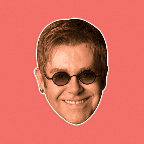 Cool Elton John Mask - Perfect for Halloween, Costume Party Mask, Masquerades, Parties, Festivals, Concerts - Jumbo Size Waterproof Laminated Mask