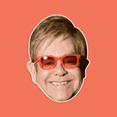Excited Elton John Mask - Perfect for Halloween, Costume Party Mask, Masquerades, Parties, Festivals, Concerts - Jumbo Size Waterproof Laminated Mask