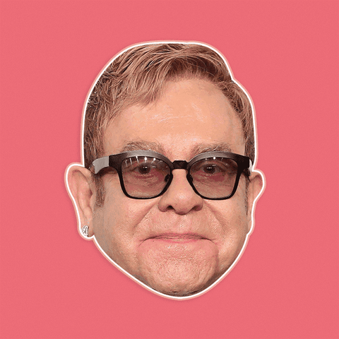 Neutral Elton John Mask - Perfect for Halloween, Costume Party Mask, Masquerades, Parties, Festivals, Concerts - Jumbo Size Waterproof Laminated Mask