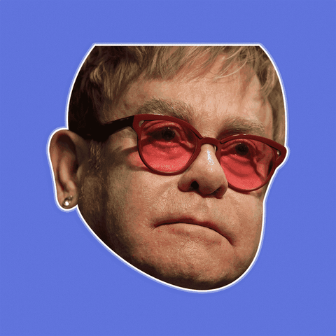 Sad Elton John Mask - Perfect for Halloween, Costume Party Mask, Masquerades, Parties, Festivals, Concerts - Jumbo Size Waterproof Laminated Mask