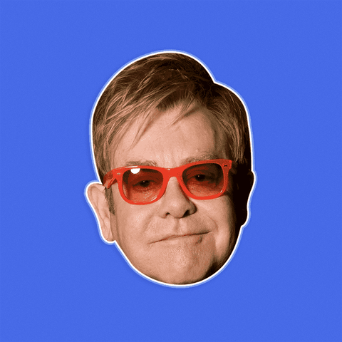 Serious Elton John Mask - Perfect for Halloween, Costume Party Mask, Masquerades, Parties, Festivals, Concerts - Jumbo Size Waterproof Laminated Mask