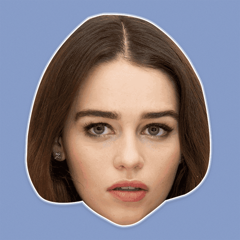 Confused Emilia Clarke Mask - Perfect for Halloween, Costume Party Mask, Masquerades, Parties, Festivals, Concerts - Jumbo Size Waterproof Laminated Mask