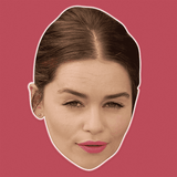 Disgusted Emilia Clarke Mask - Perfect for Halloween, Costume Party Mask, Masquerades, Parties, Festivals, Concerts - Jumbo Size Waterproof Laminated Mask