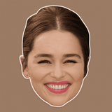 Excited Emilia Clarke Mask - Perfect for Halloween, Costume Party Mask, Masquerades, Parties, Festivals, Concerts - Jumbo Size Waterproof Laminated Mask