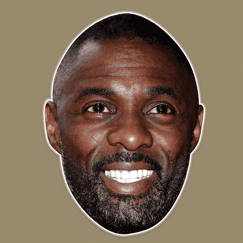 Excited Idris Elba Mask - Perfect for Halloween, Costume Party Mask, Masquerades, Parties, Festivals, Concerts - Jumbo Size Waterproof Laminated Mask