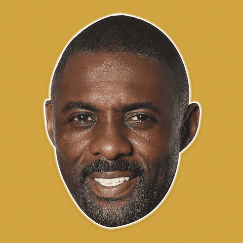 Happy Idris Elba Mask - Perfect for Halloween, Costume Party Mask, Masquerades, Parties, Festivals, Concerts - Jumbo Size Waterproof Laminated Mask