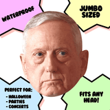 Serious James Mattis Mask - Perfect for Halloween, Costume Party Mask, Masquerades, Parties, Festivals, Concerts - Jumbo Size Waterproof Laminated Mask