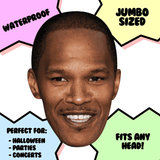 Silly Jamie Foxx Mask - Perfect for Halloween, Costume Party Mask, Masquerades, Parties, Festivals, Concerts - Jumbo Size Waterproof Laminated Mask
