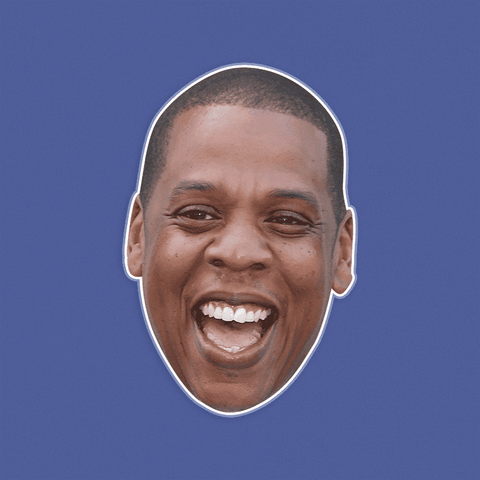 Laughing Jay-Z Mask - Perfect for Halloween, Costume Party Mask, Masquerades, Parties, Festivals, Concerts - Jumbo Size Waterproof Laminated Mask