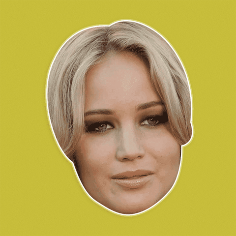 Confused Jennifer Lawrence Mask - Perfect for Halloween, Costume Party Mask, Masquerades, Parties, Festivals, Concerts - Jumbo Size Waterproof Laminated Mask