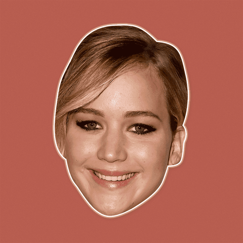 Happy Jennifer Lawrence Mask - Perfect for Halloween, Costume Party Mask, Masquerades, Parties, Festivals, Concerts - Jumbo Size Waterproof Laminated Mask