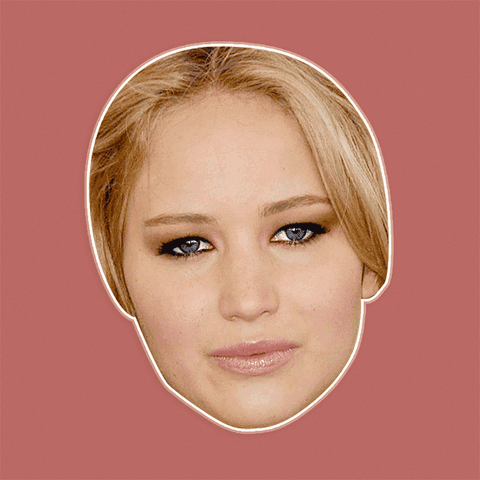 Serious Jennifer Lawrence Mask - Perfect for Halloween, Costume Party Mask, Masquerades, Parties, Festivals, Concerts - Jumbo Size Waterproof Laminated Mask