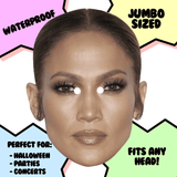 Neutral Jennifer Lopez Mask - Perfect for Halloween, Costume Party Mask, Masquerades, Parties, Festivals, Concerts - Jumbo Size Waterproof Laminated Mask