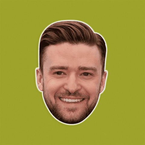 Happy Justin Timberlake Mask - Perfect for Halloween, Costume Party Mask, Masquerades, Parties, Festivals, Concerts - Jumbo Size Waterproof Laminated Mask