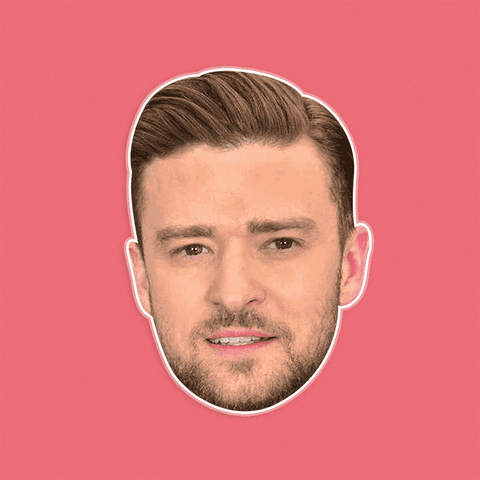 Neutral Justin Timberlake Mask - Perfect for Halloween, Costume Party Mask, Masquerades, Parties, Festivals, Concerts - Jumbo Size Waterproof Laminated Mask