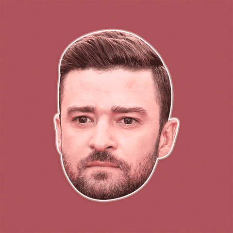 Sad Justin Timberlake Mask - Perfect for Halloween, Costume Party Mask, Masquerades, Parties, Festivals, Concerts - Jumbo Size Waterproof Laminated Mask