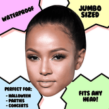 Cool Karrueche Tran Mask - Perfect for Halloween, Costume Party Mask, Masquerades, Parties, Festivals, Concerts - Jumbo Size Waterproof Laminated Mask