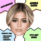 Cool Kylie Jenner Mask - Perfect for Halloween, Costume Party Mask, Masquerades, Parties, Festivals, Concerts - Jumbo Size Waterproof Laminated Mask