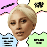 Neutral Lady Gaga Mask - Perfect for Halloween, Costume Party Mask, Masquerades, Parties, Festivals, Concerts - Jumbo Size Waterproof Laminated Mask