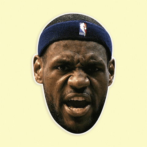 Excited LeBron James Mask - Perfect for Halloween, Costume Party Mask, Masquerades, Parties, Festivals, Concerts - Jumbo Size Waterproof Laminated Mask