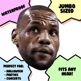 Disgusted LeBron James Mask - Perfect for Halloween, Costume Party Mask, Masquerades, Parties, Festivals, Concerts - Jumbo Size Waterproof Laminated Mask