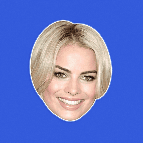 Happy Margot Robbie Mask - Perfect for Halloween, Costume Party Mask, Masquerades, Parties, Festivals, Concerts - Jumbo Size Waterproof Laminated Mask