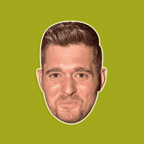 Excited Michael Buble Mask - Perfect for Halloween, Costume Party Mask, Masquerades, Parties, Festivals, Concerts - Jumbo Size Waterproof Laminated Mask