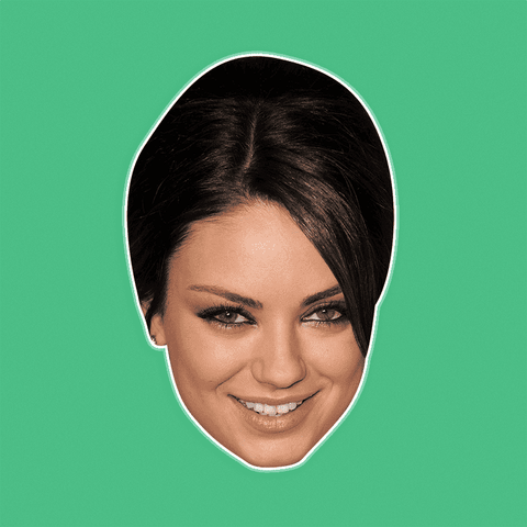 Happy Mila Kunis Mask - Perfect for Halloween, Costume Party Mask, Masquerades, Parties, Festivals, Concerts - Jumbo Size Waterproof Laminated Mask