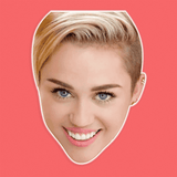 Happy Miley Cyrus Mask - Perfect for Halloween, Costume Party Mask, Masquerades, Parties, Festivals, Concerts - Jumbo Size Waterproof Laminated Mask