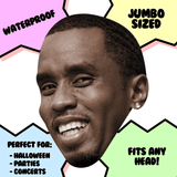 Excited P Diddy Mask - Perfect for Halloween, Costume Party Mask, Masquerades, Parties, Festivals, Concerts - Jumbo Size Waterproof Laminated Mask