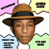 Bored Pharrell Mask - Perfect for Halloween, Costume Party Mask, Masquerades, Parties, Festivals, Concerts - Jumbo Size Waterproof Laminated Mask