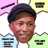 Excited Pharrell Mask - Perfect for Halloween, Costume Party Mask, Masquerades, Parties, Festivals, Concerts - Jumbo Size Waterproof Laminated Mask
