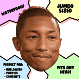 Happy Pharrell Mask - Perfect for Halloween, Costume Party Mask, Masquerades, Parties, Festivals, Concerts - Jumbo Size Waterproof Laminated Mask