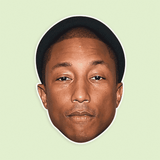 Sad Pharrell Mask - Perfect for Halloween, Costume Party Mask, Masquerades, Parties, Festivals, Concerts - Jumbo Size Waterproof Laminated Mask