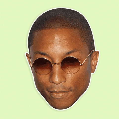 Serious Pharrell Mask - Perfect for Halloween, Costume Party Mask, Masquerades, Parties, Festivals, Concerts - Jumbo Size Waterproof Laminated Mask