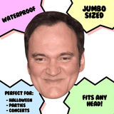 Happy Quentin Tarantino Mask - Perfect for Halloween, Costume Party Mask, Masquerades, Parties, Festivals, Concerts - Jumbo Size Waterproof Laminated Mask