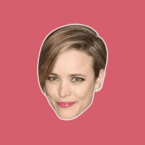 Excited Rachel McAdams Mask - Perfect for Halloween, Costume Party Mask, Masquerades, Parties, Festivals, Concerts - Jumbo Size Waterproof Laminated Mask