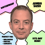 Surprised Reince Priebus Mask - Perfect for Halloween, Costume Party Mask, Masquerades, Parties, Festivals, Concerts - Jumbo Size Waterproof Laminated Mask