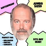 Excited Rick Rubin Mask - Perfect for Halloween, Costume Party Mask, Masquerades, Parties, Festivals, Concerts - Jumbo Size Waterproof Laminated Mask