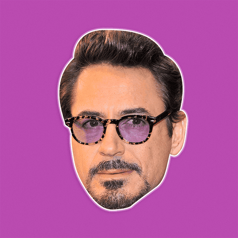 Cool Robert Downey Jr. Mask - Perfect for Halloween, Costume Party Mask, Masquerades, Parties, Festivals, Concerts - Jumbo Size Waterproof Laminated Mask