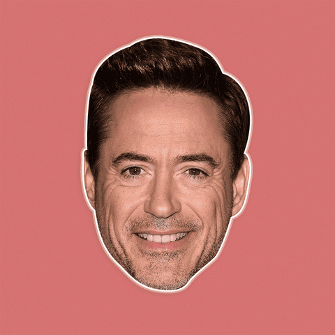 Neutral Robert Downey Jr. Mask - Perfect for Halloween, Costume Party Mask, Masquerades, Parties, Festivals, Concerts - Jumbo Size Waterproof Laminated Mask