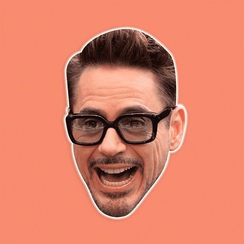 Surprised Robert Downey Jr. Mask - Perfect for Halloween, Costume Party Mask, Masquerades, Parties, Festivals, Concerts - Jumbo Size Waterproof Laminated Mask
