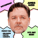 Neutral Russell Crowe Mask - Perfect for Halloween, Costume Party Mask, Masquerades, Parties, Festivals, Concerts - Jumbo Size Waterproof Laminated Mask